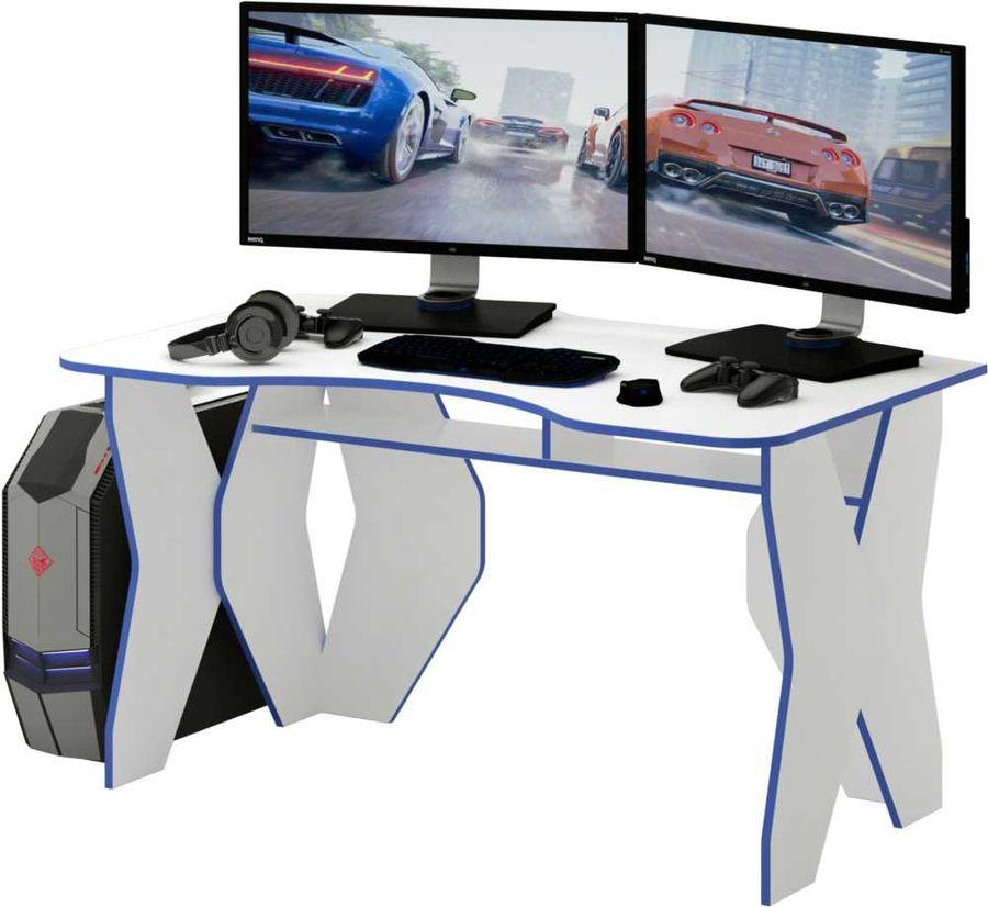 Стол игровой  МАСТЕР Таунт,  ЛДСП,  белый и синий