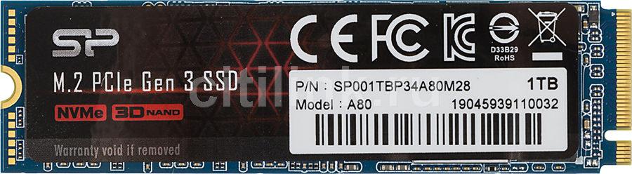 SSD накопитель SILICON POWER M-Series SP001TBP34A80M28 1Тб, M.2 2280, PCI-E x4,  NVMe