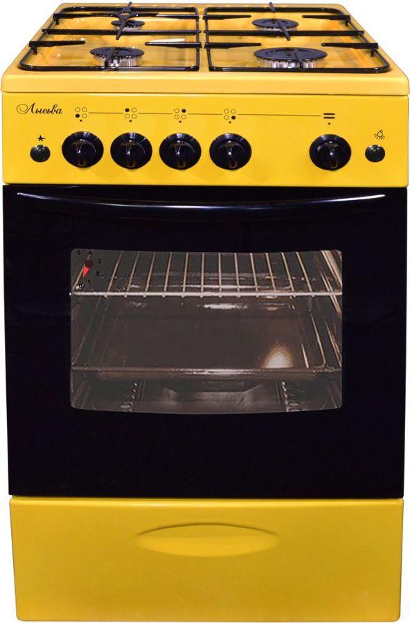 Газовая плита ЛЫСЬВА ГП 400 МС-2у,  газовая духовка,  без крышки,  желтый