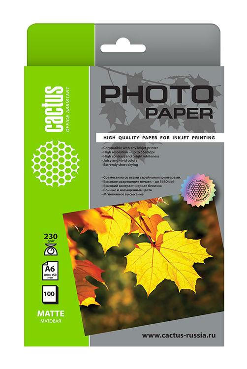 Фотобумага Cactus CS-MA6230100 10x15/230г/м2/100л./белый матовое для струйной печати