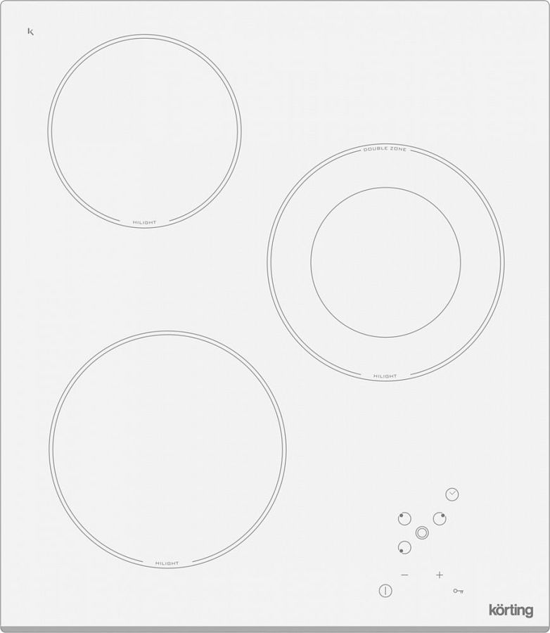 Варочная панель KORTING HK42031BW,  Hi-Light,  независимая,  белый
