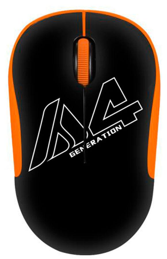 Мышь A4 V-Track G3-300N, оптическая, беспроводная, USB, черный и оранжевый