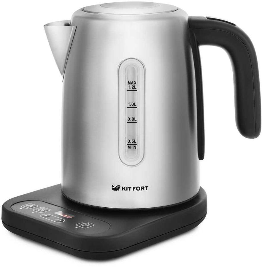 Чайник электрический KITFORT КТ-662, 2200Вт, черный и серебристый