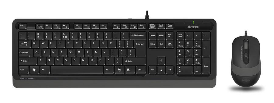 Комплект (клавиатура+мышь) A4 Fstyler F1010, USB, проводной, черный и серый [f1010 grey]