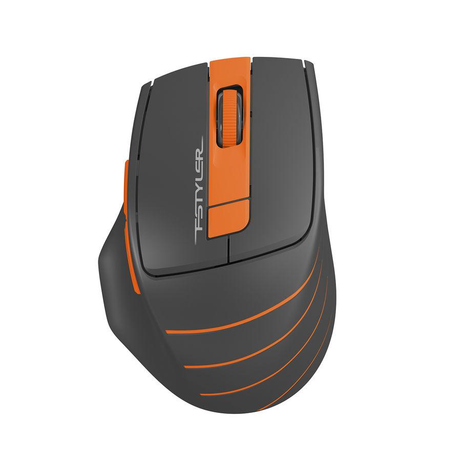 Мышь A4 Fstyler FG30, оптическая, беспроводная, USB, серый и оранжевый [fg30 orange]