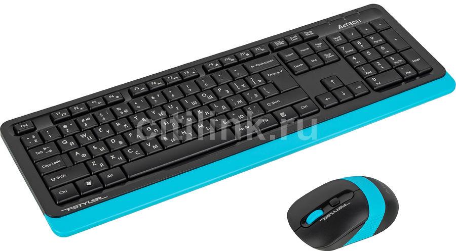 Комплект (клавиатура+мышь) A4 FG1010, USB, беспроводной, черный и серый [fg1010 blue]