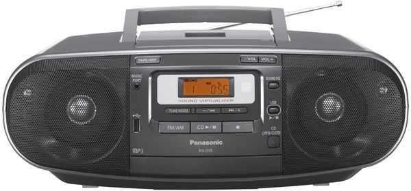 Аудиомагнитола PANASONIC RX-D55EE-K,  черный