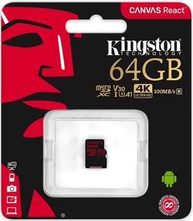 Карта памяти microSDXC UHS-I U3 KINGSTON Canvas React 64 ГБ, 100 МБ/с, Class 10, SDCR/64GBSP,  1 шт.