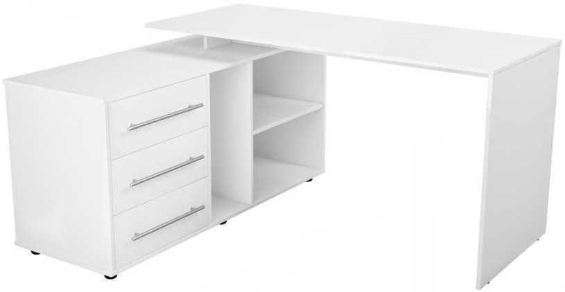 Стол компьютерный  ВИТАЛ-ПК Директор 1400,  угловой,  ЛДСП,  белый