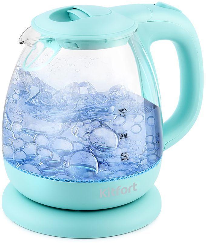 Чайник электрический KITFORT КТ-653-1, 1100Вт, голубой