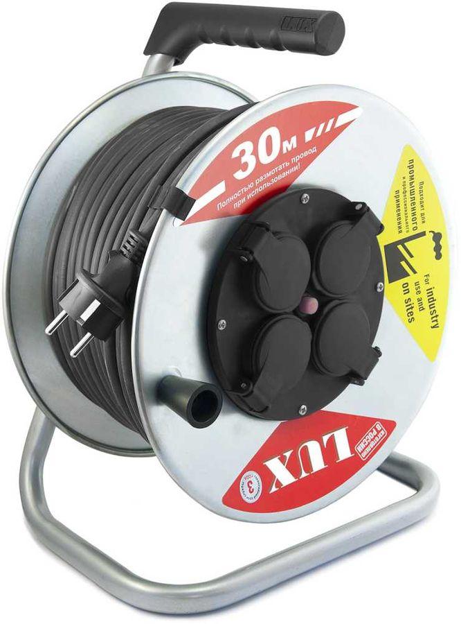 Удлинитель силовой LUX К4-Е-30 (55130) 3x2.5кв.мм 4розет. 30м КГ 16A метал.катушка