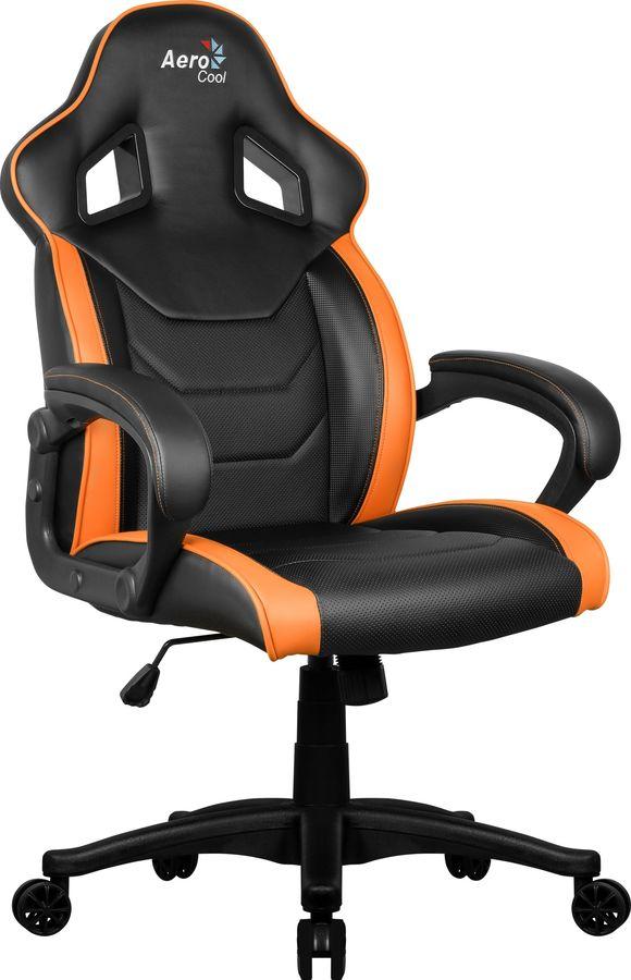 Кресло игровое AEROCOOL AC60C AIR-BO, на колесиках, ПВХ/полиуретан, черно-оранжевый