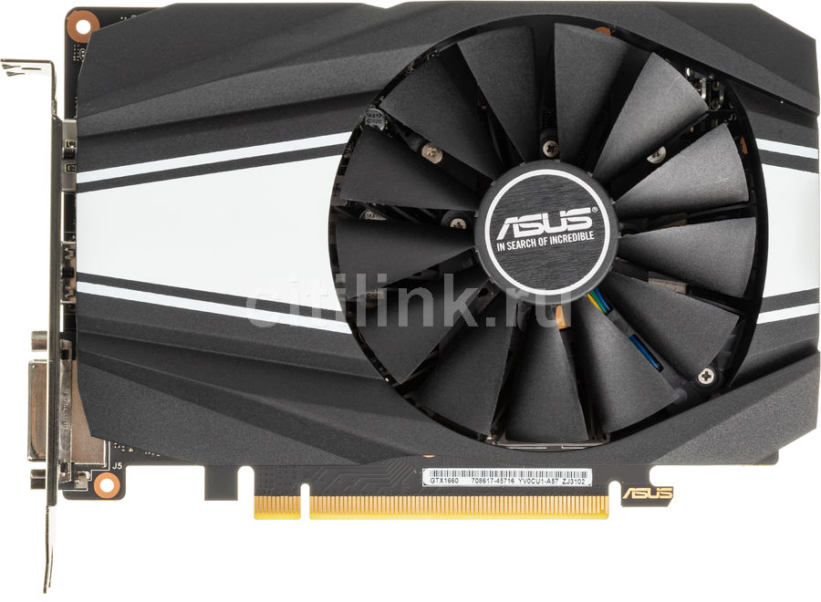 Видеокарта ASUS nVidia  GeForce GTX 1660 ,  PH-GTX1660-6G,  6Гб, GDDR5, Ret
