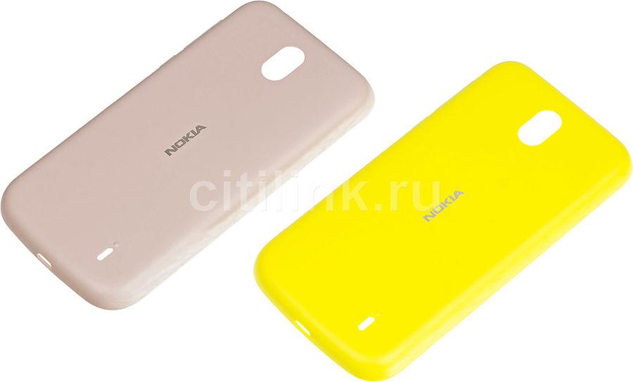 Задняя крышка NOKIA Xpress-on Cover Dual Pk XP-150, для Nokia 1, розовый/желтый [1a21rsq00va]