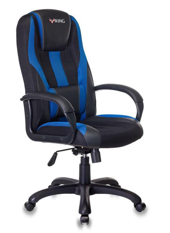 Кресло игровое БЮРОКРАТ VIKING-9, на колесиках, искусственная кожа/ткань, черно-синий [viking-9/bl+blue]