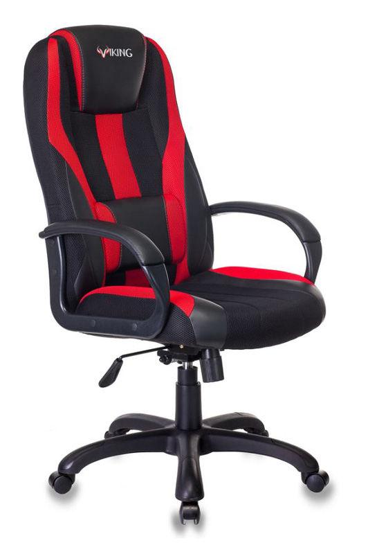 Кресло игровое БЮРОКРАТ VIKING-9, на колесиках, искусственная кожа/ткань, черно-красный [viking-9/bl+red]