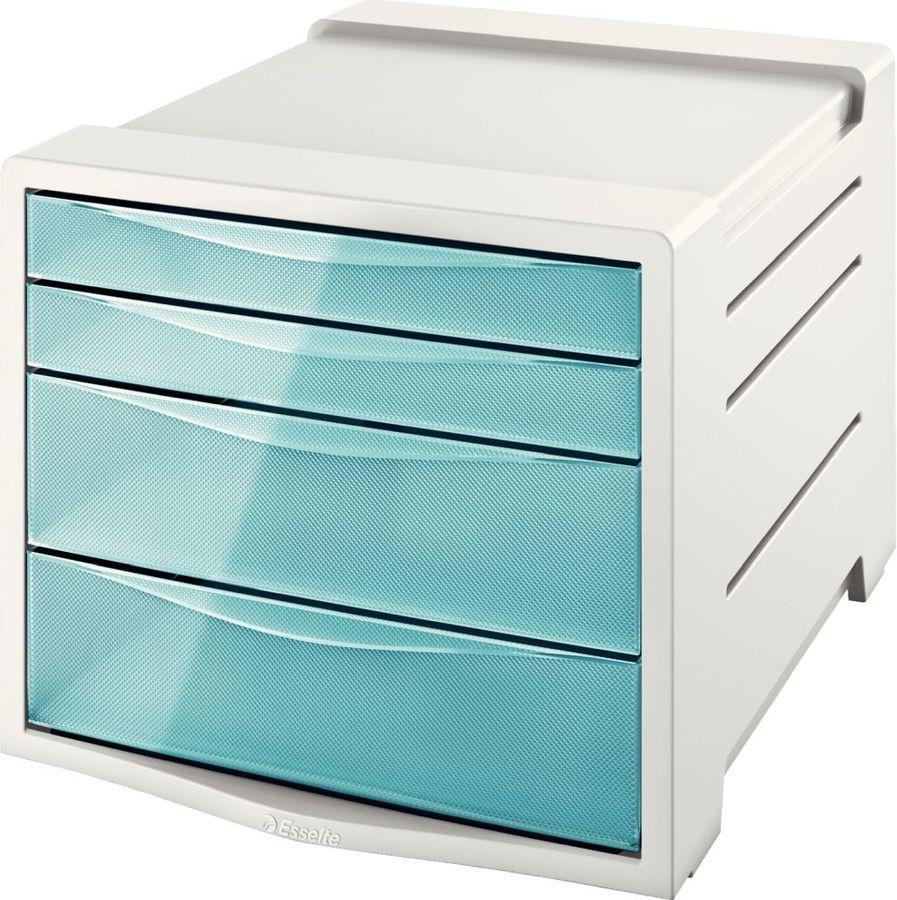 Бокс для документов Esselte 626284 Colour`Ice 4 выдвижных ящика 245x365x285мм синий полистирол