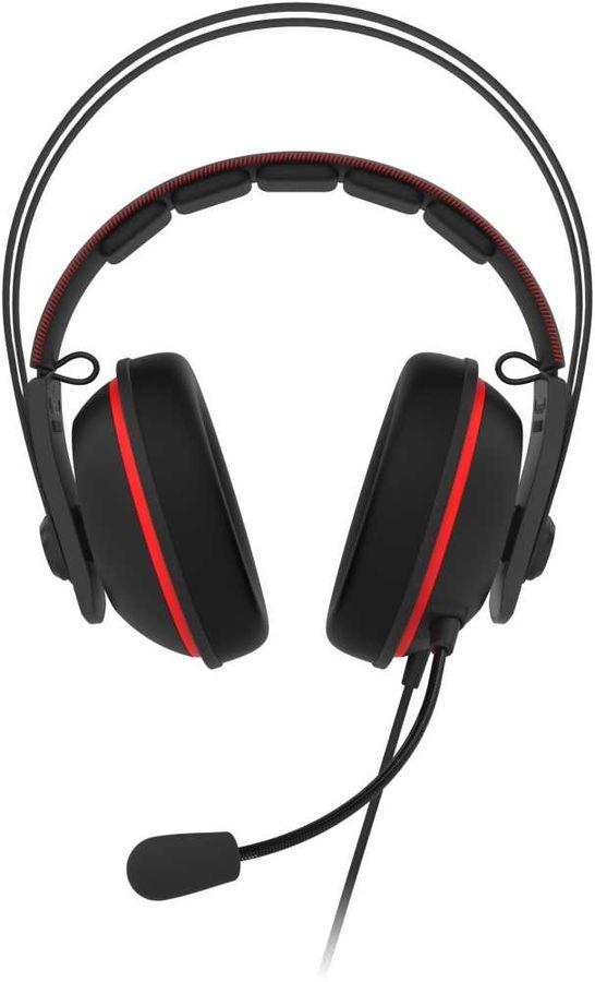 Гарнитура игровая ASUS TUF Gaming H7 CORE,  для компьютера, накладные,  черный  / красный [90yh01qr-b1ua00]