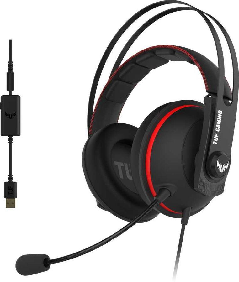 Гарнитура игровая ASUS TUF Gaming H7,  для компьютера, накладные,  черный  / красный [90yh01vr-b8ua00]