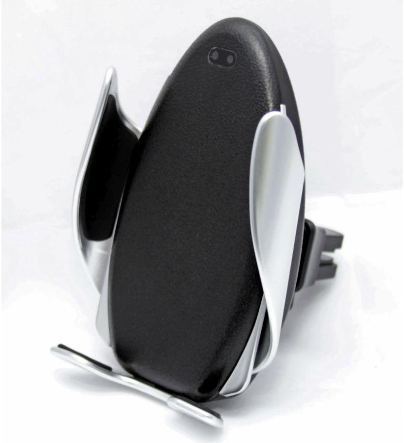 Держатель Wiiix CW-64V12 беспров.з/у. черный/серебристый для смартфонов