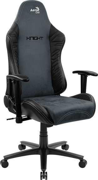 Кресло игровое AEROCOOL KNIGHT FUZE DUSK Steel Blue, на колесиках, искусственная кожа/ткань, черный/синий