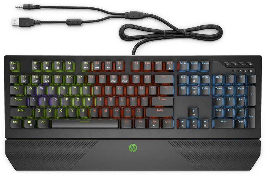 Клавиатура HP Pavilion Gaming 800,  USB, c подставкой для запястий, черный [5js06aa]