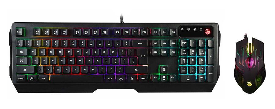 Комплект (клавиатура+мышь) A4 Q1300 (Q135 Neon + Q50), USB, проводной, черный