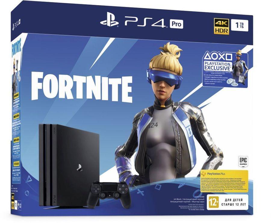 Игровая консоль PLAYSTATION 4 Pro с 1 ТБ памяти, игрой Fortnite,  CUH-7208B, черный