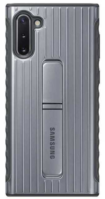 Чехол (клип-кейс) SAMSUNG Protective Standing Cover, для Samsung Galaxy Note 10, серебристый [ef-rn970csegru]