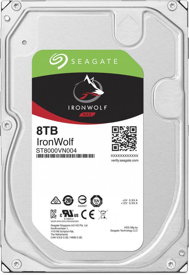 "Жесткий диск SEAGATE Ironwolf ST8000VN004,  8Тб,  HDD,  SATA III,  3.5"""