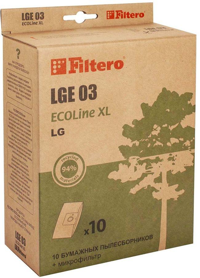 Пылесборники FILTERO LGE 03 ECOLine XL,  бумажные,  10 шт., подходит для CLATRONIC, LG, ROLSEN