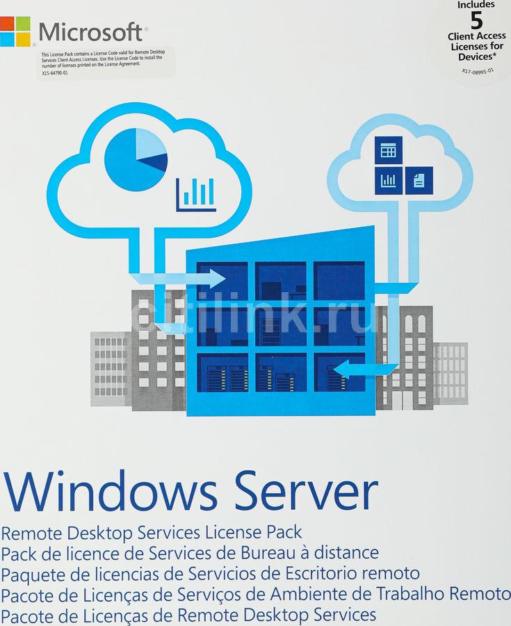 Операционная система MICROSOFT Windows Rmt Dsktp Svcs  CAL 2019 MLP 5 Device CAL,  64 bit, Eng, BOX [6vc-03804]