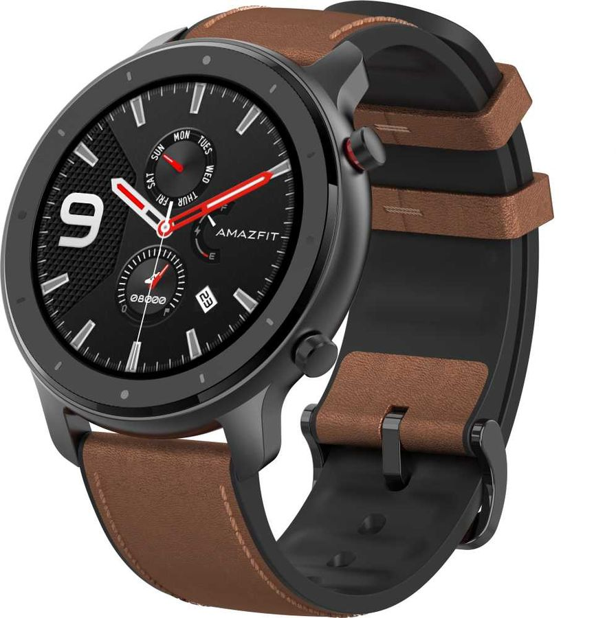 """Смарт-часы AMAZFIT GTR,  47мм,  1.39"""",  черный / коричневый"""