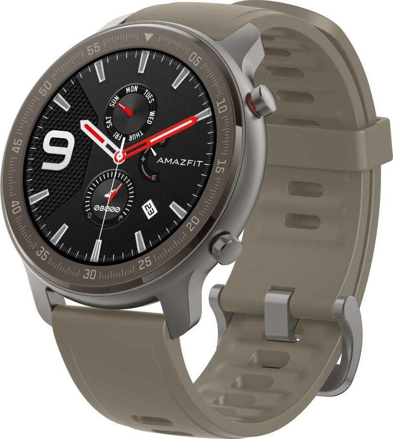 """Смарт-часы AMAZFIT GTR Titanium,  47мм,  1.39"""",  черный / коричневый"""