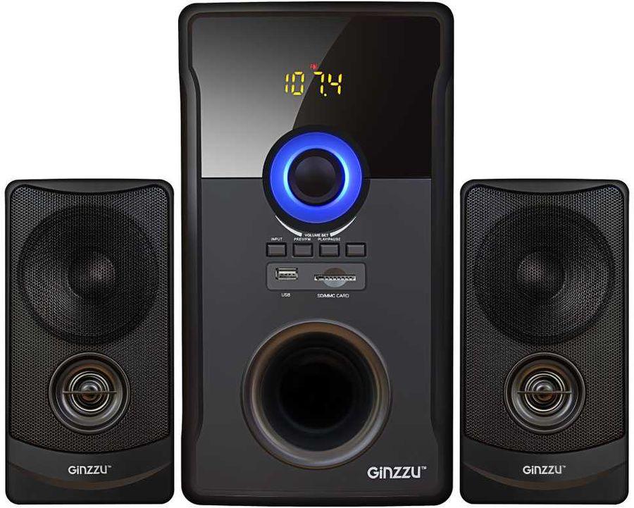 Колонки Bluetooth GINZZU GM-426,  2.1,  черный/ черный
