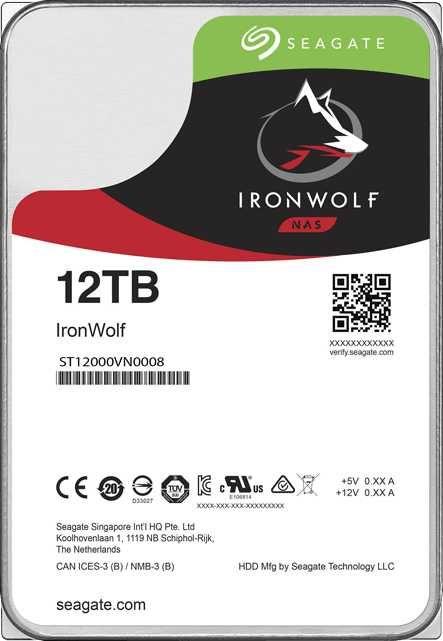 "Жесткий диск SEAGATE Ironwolf ST12000VN0008,  12Тб,  HDD,  SATA III,  3.5"""