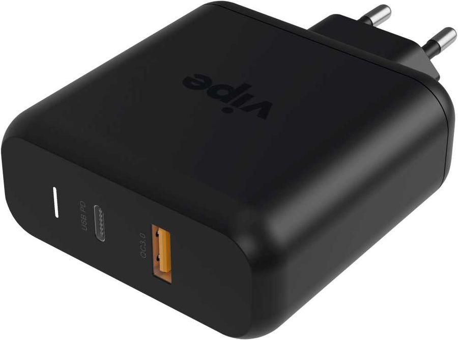 Сетевое зарядное устройство  Vipe Travel Station S,  USB + USB type-C,  3A,  черный