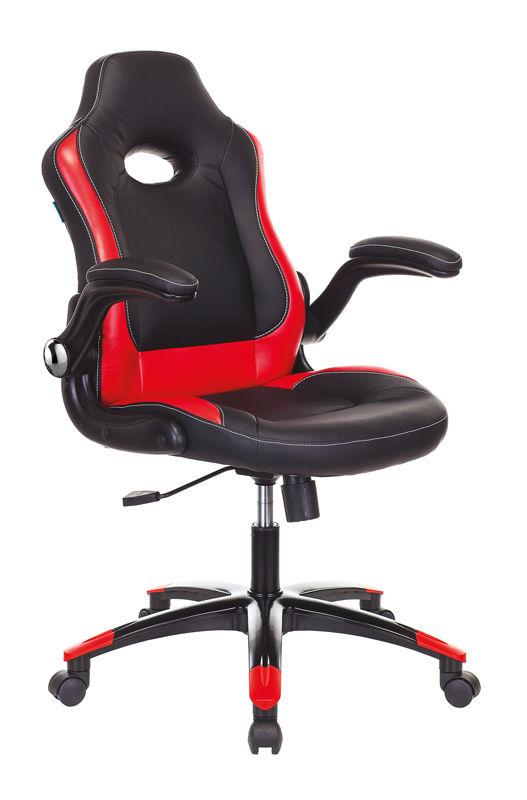 Кресло игровое БЮРОКРАТ VIKING-1N, на колесиках, искусственная кожа, черный/красный [viking-1n/bl-red]