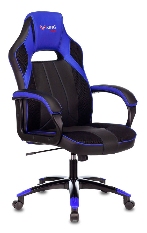 Кресло игровое БЮРОКРАТ VIKING 2 AERO, на колесиках, искусственная кожа/ткань, синий [viking 2 aero blue]