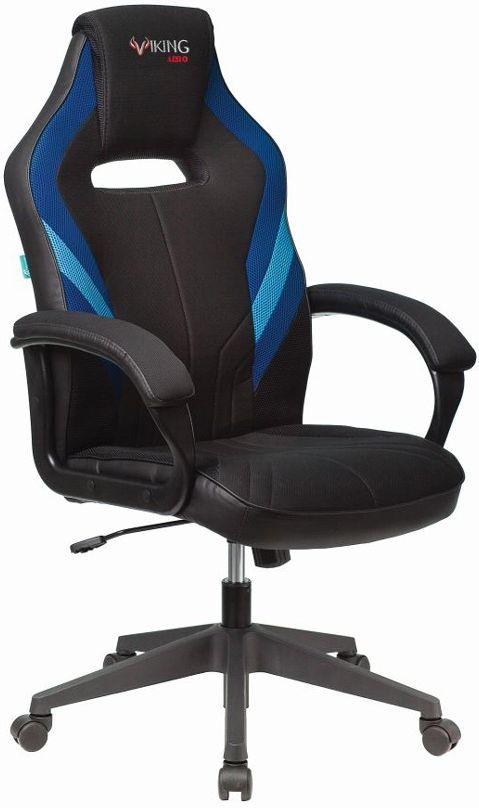 Кресло игровое БЮРОКРАТ VIKING 3 AERO, на колесиках, искусственная кожа/ткань, черный/синий [viking 3 aero blue]