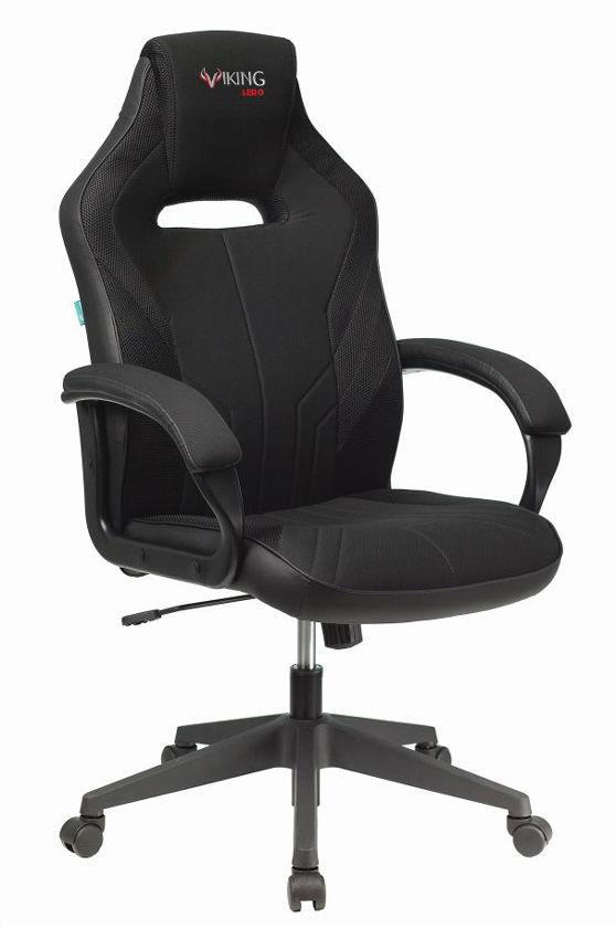 Кресло игровое БЮРОКРАТ VIKING 3 AERO, на колесиках, искусственная кожа/ткань, черный [viking 3 aero black]