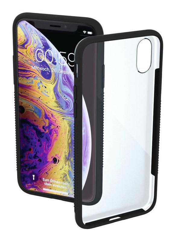 Чехол (клип-кейс) HAMA Frame, для Apple iPhone X/XS, прозрачный/черный [00185148]