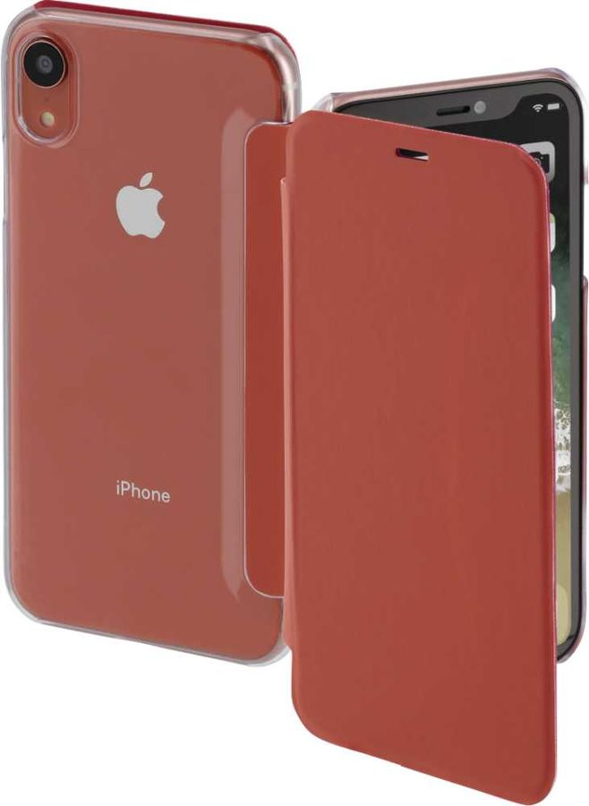 Чехол (флип-кейс) HAMA Clear, для Apple iPhone XR, коралловый/прозрачный [00185756]