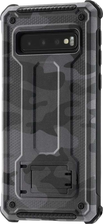 Чехол (клип-кейс) HAMA Army, для Samsung Galaxy S10, серый/черный [00186640]