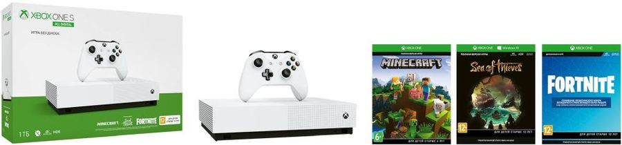 Игровая консоль MICROSOFT Xbox One S с 1 ТБ памяти, играми: Minecraft, Sea of Thieves, Fortnite,  All-Digital Edition, белый