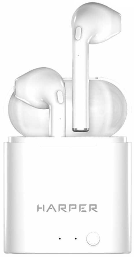 Наушники с микрофоном HARPER HB-508, Bluetooth, вкладыши, белый [h00002045]