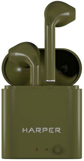 Наушники с микрофоном HARPER HB-508, Bluetooth, вкладыши, хаки [h00002592]