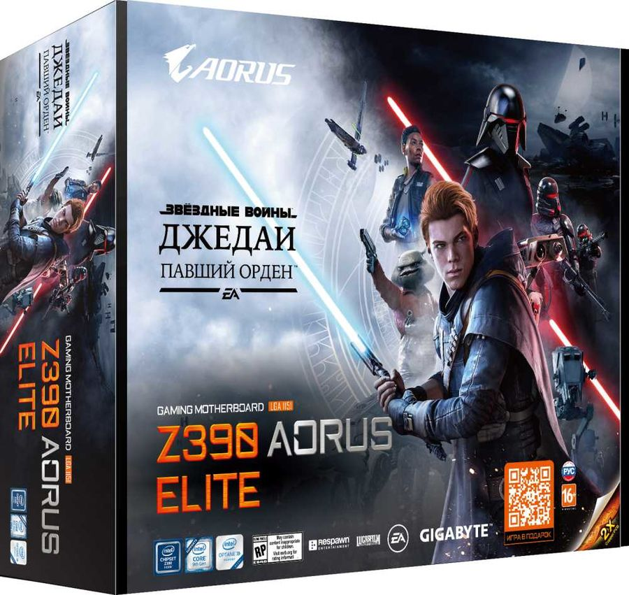 Материнская плата GIGABYTE Z390 AORUS ELITE Star Wars Edition, LGA 1151v2, Intel Z390, ATX, Ret