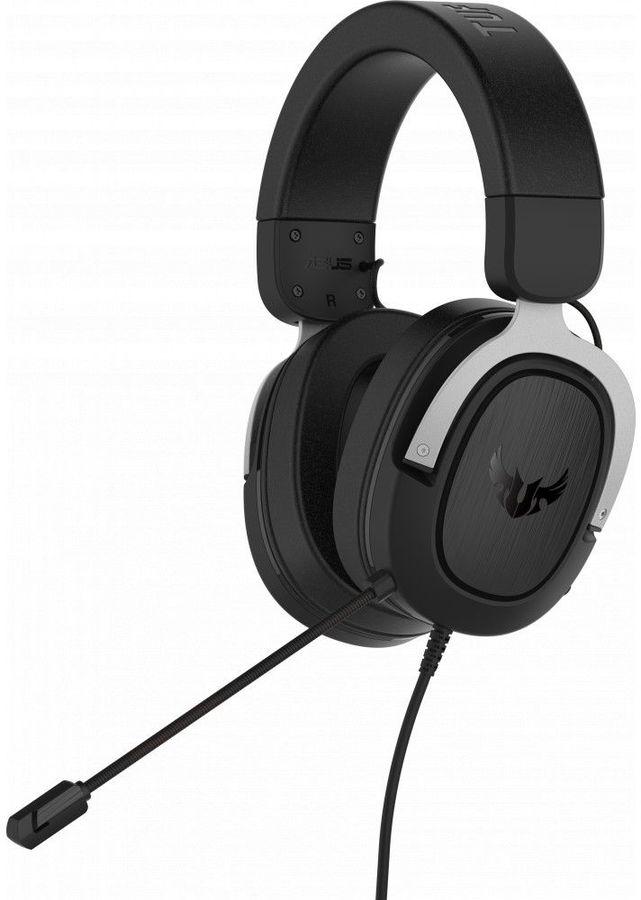 Гарнитура игровая ASUS TUF Gaming H3,  для ПК и игровых консолей, мониторы,  черный  / серебристый [90yh025s-b1ua00]