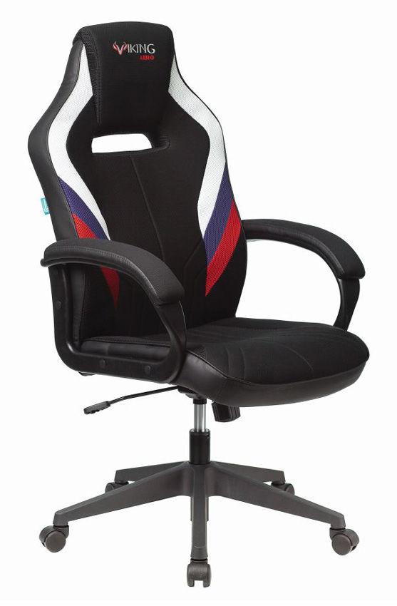 Кресло игровое БЮРОКРАТ VIKING 3 AERO, белый/синий/красный/черный